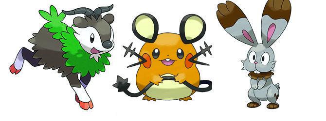 Pokemon X/Y  Dedenne-bunnelby-skiddo