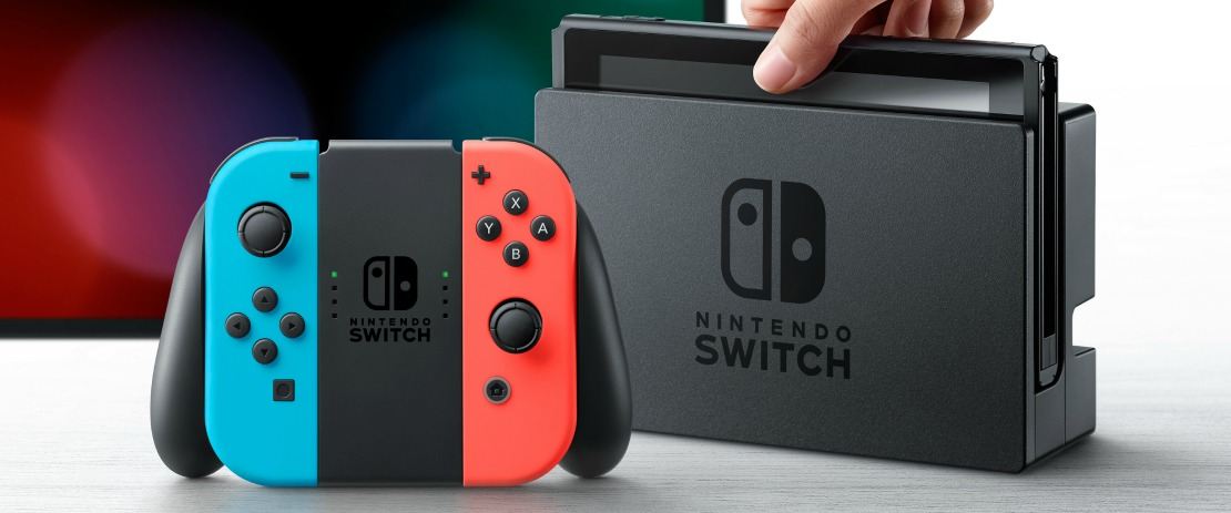 Neon Red Blue Nintendo Switch Dock Photo