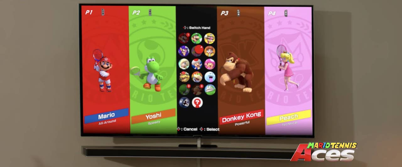 Spike Mario Tennis Aces Character Select Screen