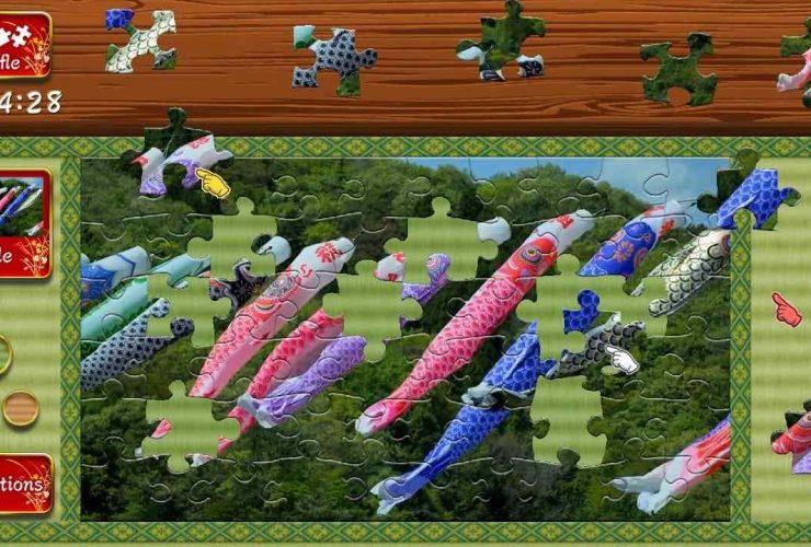 Animated Jigsaws: Beautiful Japanese Scenery Koinobori Screenshot