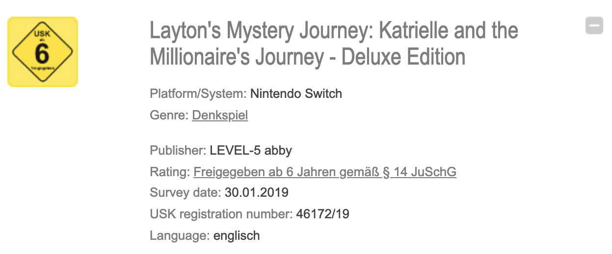 Layton's Mystery Journey USK Rating
