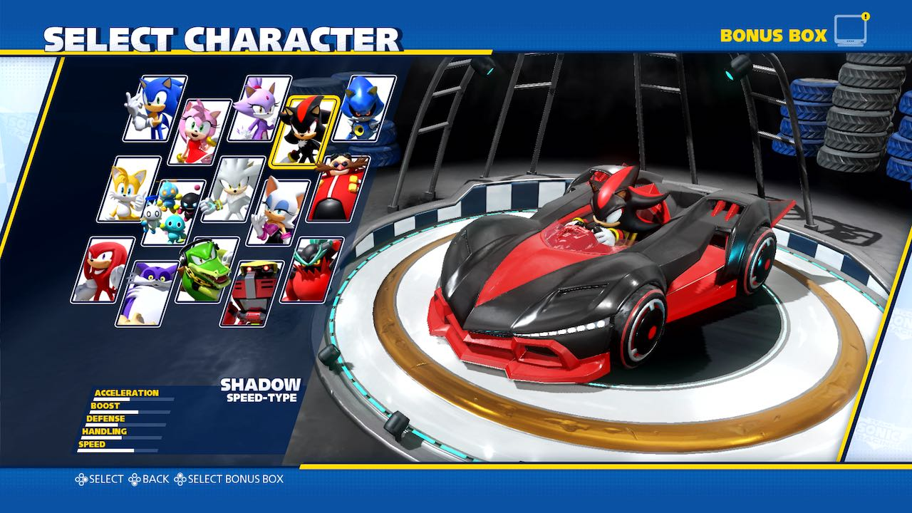 Team Sonic Racing Characters Selection Screenshot