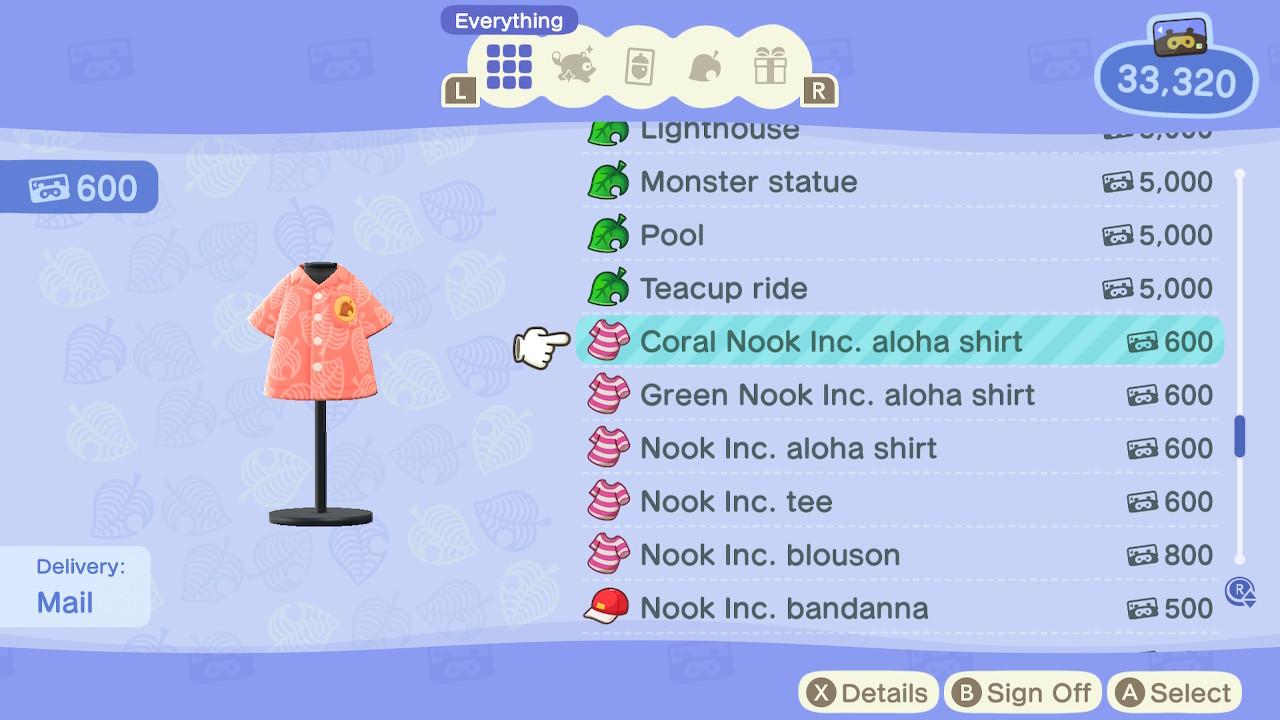 Animal Crossing: New Horizons Coral Nook Inc. aloha shirt Screenshot